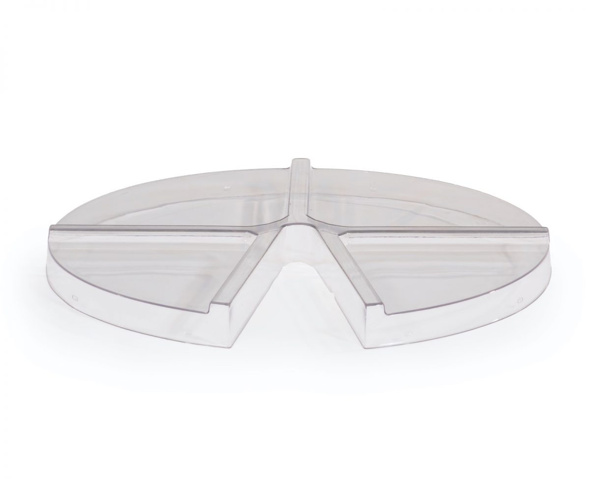 Clip over transparent ESD tray covers for 4 pocket tray ESD safe