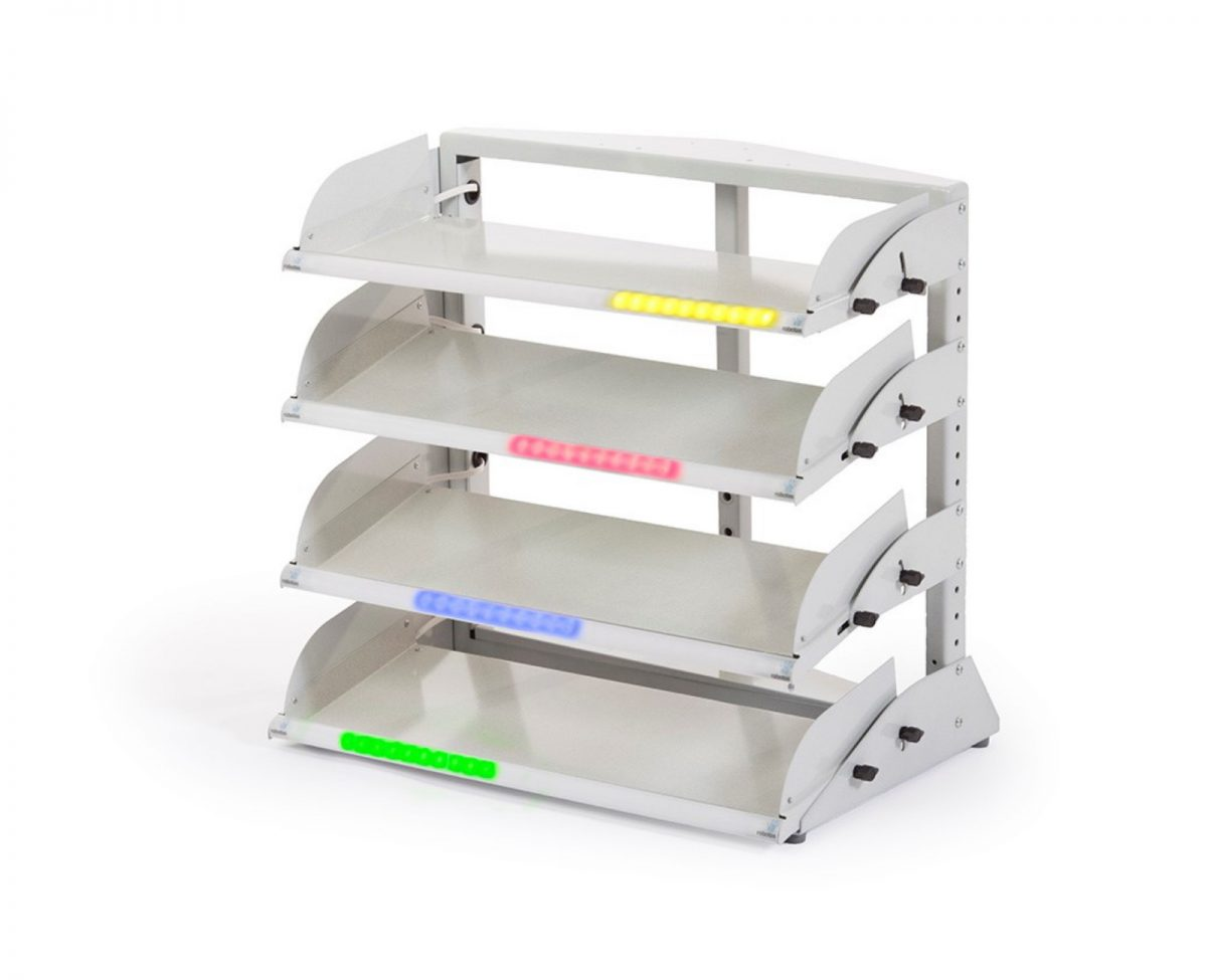 Four tier pick to light tote bin rack hold 20 tote bins, picking location indicated by lights