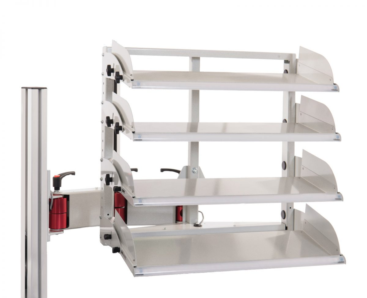 Four tier pick to light tote bin rack hold 20 tote bins, picking location indicated by lights.Includes an articulated mounting arm.