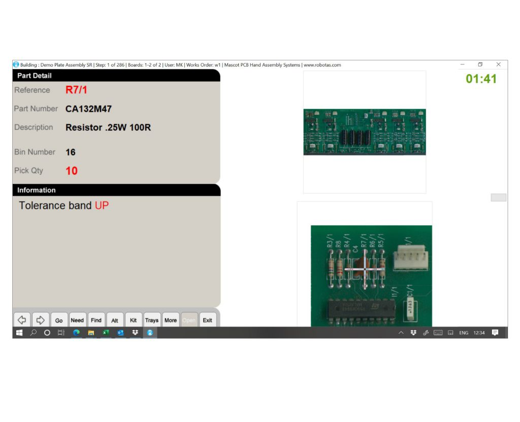 Mascot Assembly software provides oepartors interface to work instructions amd dispensers.