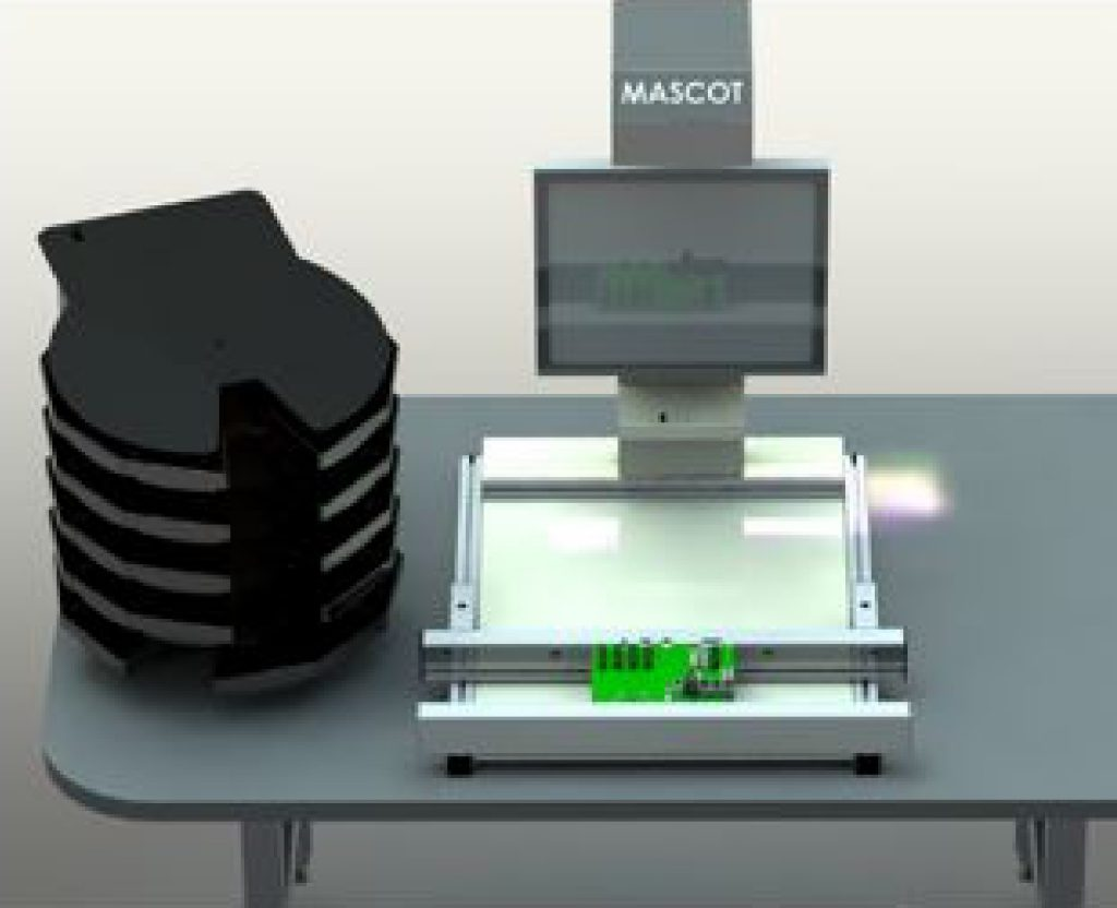 Mascot Benchtop Entry level workstation, with one carousel, ESD Anti Static paint. Placed on an existing work bench used for cell production