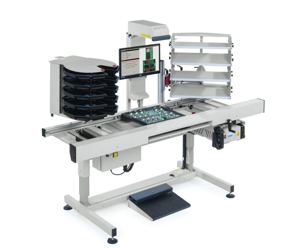 Mascot SMEMA motorised 3 stage conveyor with 3 Stages automated flowline productioon, with one carousel and one four tier pick to light array.