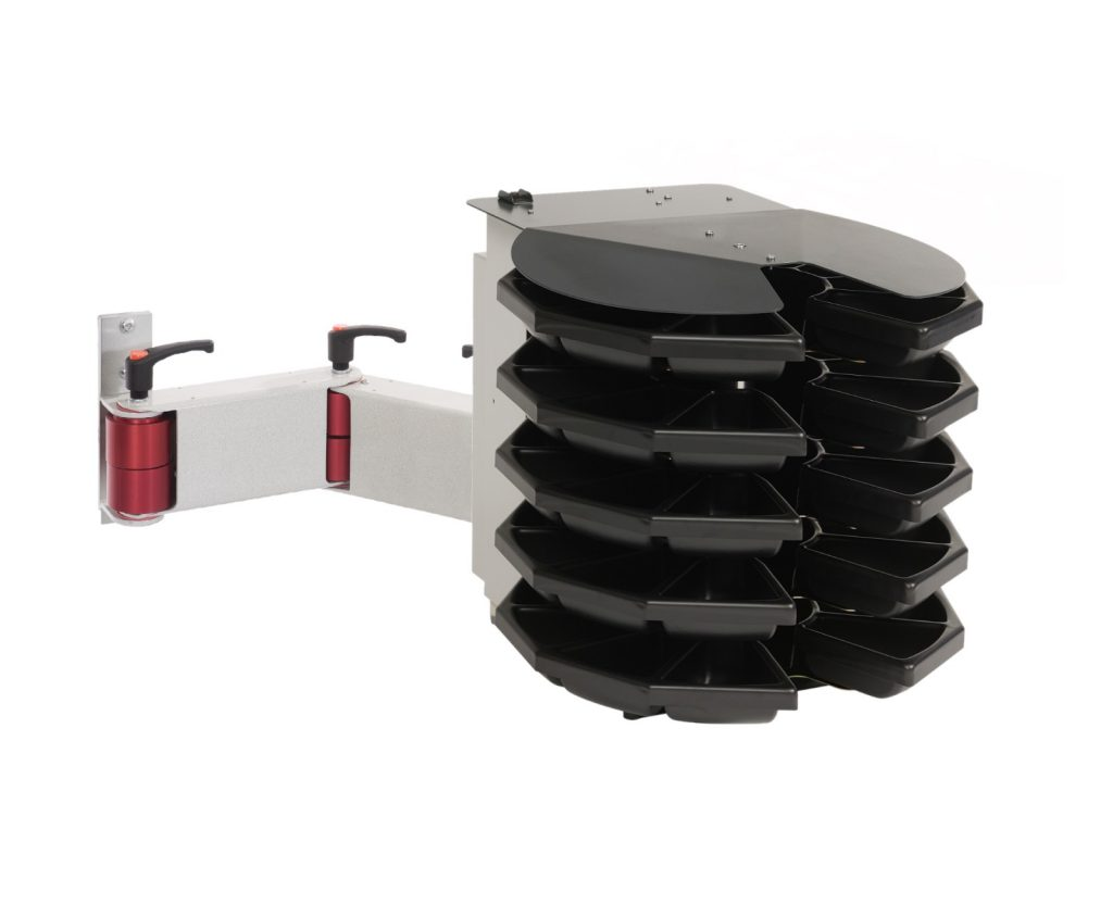 Motorised rotary part dispenser with 50 strorage bins. Includes an articulated mounting arm.