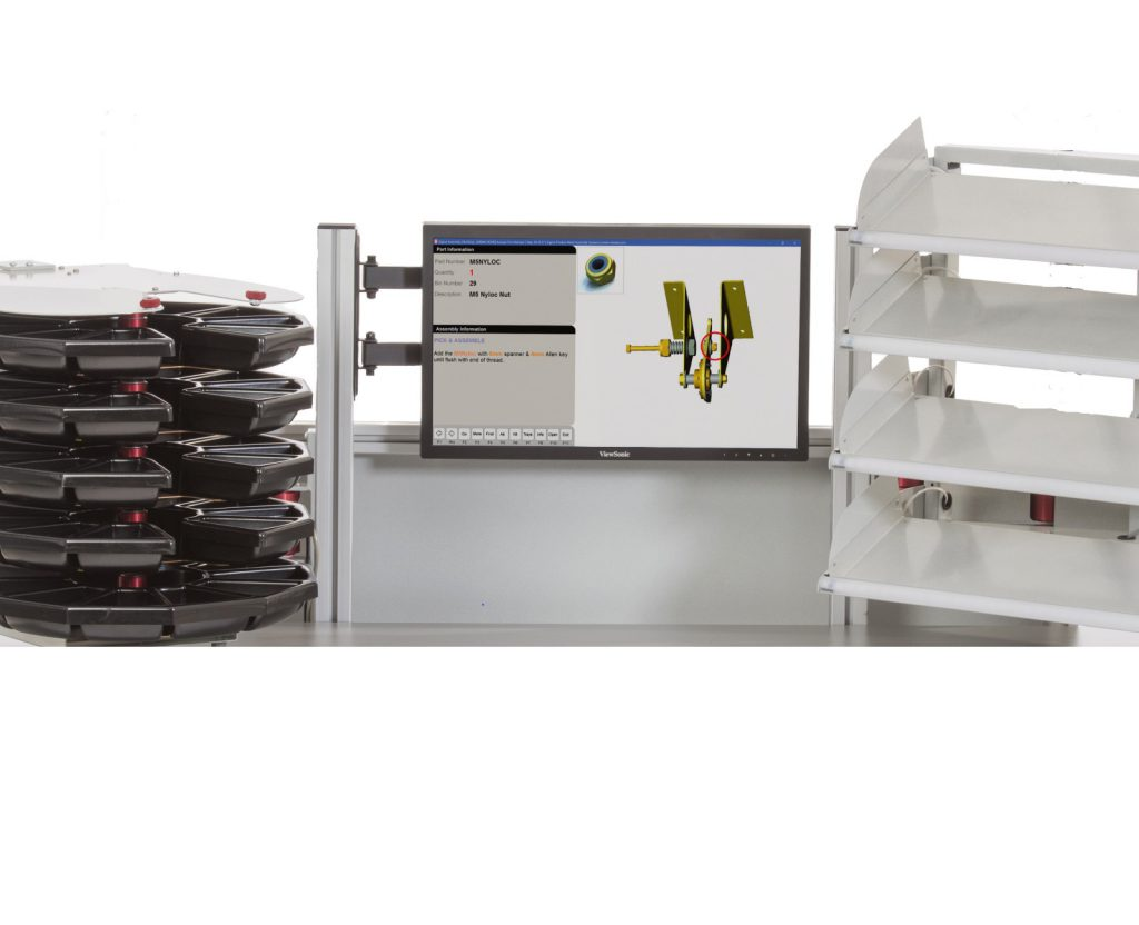Sigma retrofit workstation ESD safe with one carousel and one four tier pick to light array.Includes articulated mounting arms Suitable flowline production
