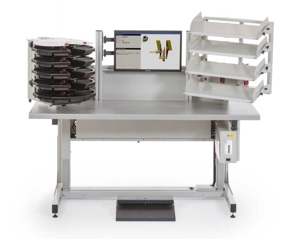 Sigma Standalone ESD workstation height adjustable work area with one carousel and one four tier pick to light array. Suitable for cell production