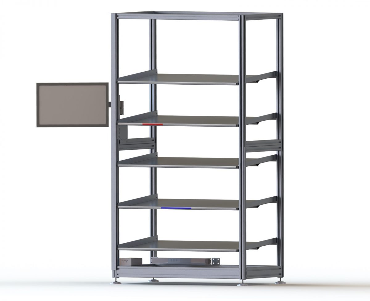 Shelving rack for parts storage fitted with pick to light shelving. 1.6m x 1m x 1m
