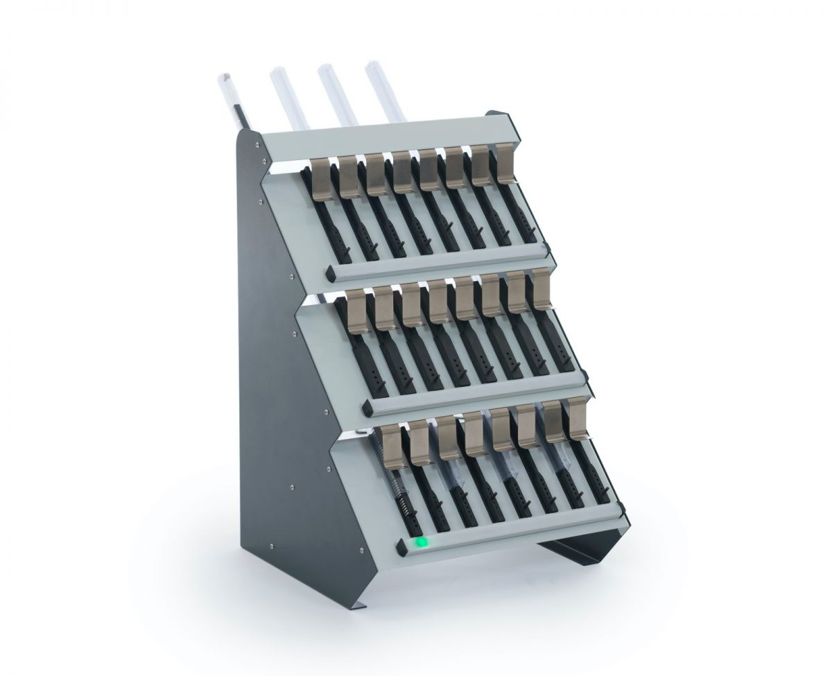 Tube part dispenser with storage for 24 parts and pick to light indication