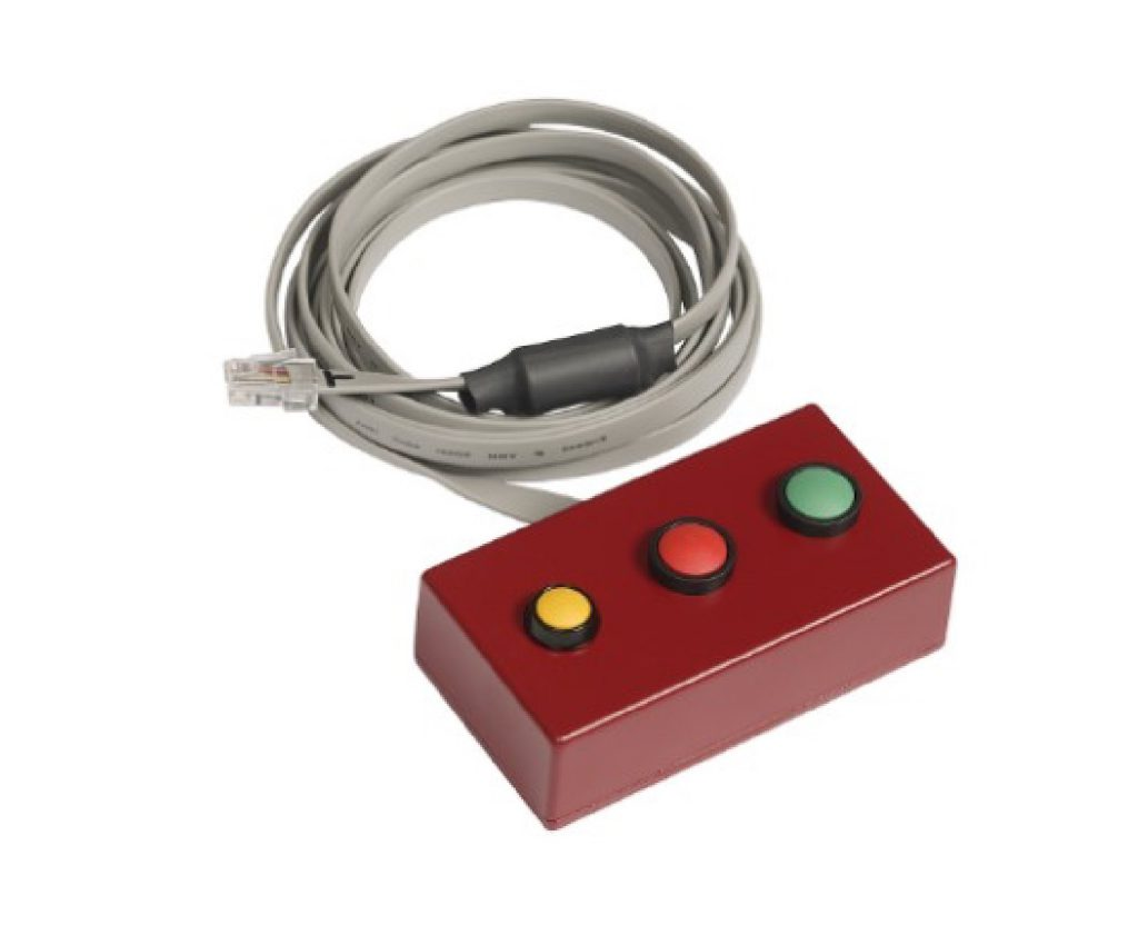 Three button acknowledgement button box with forward and reverse.