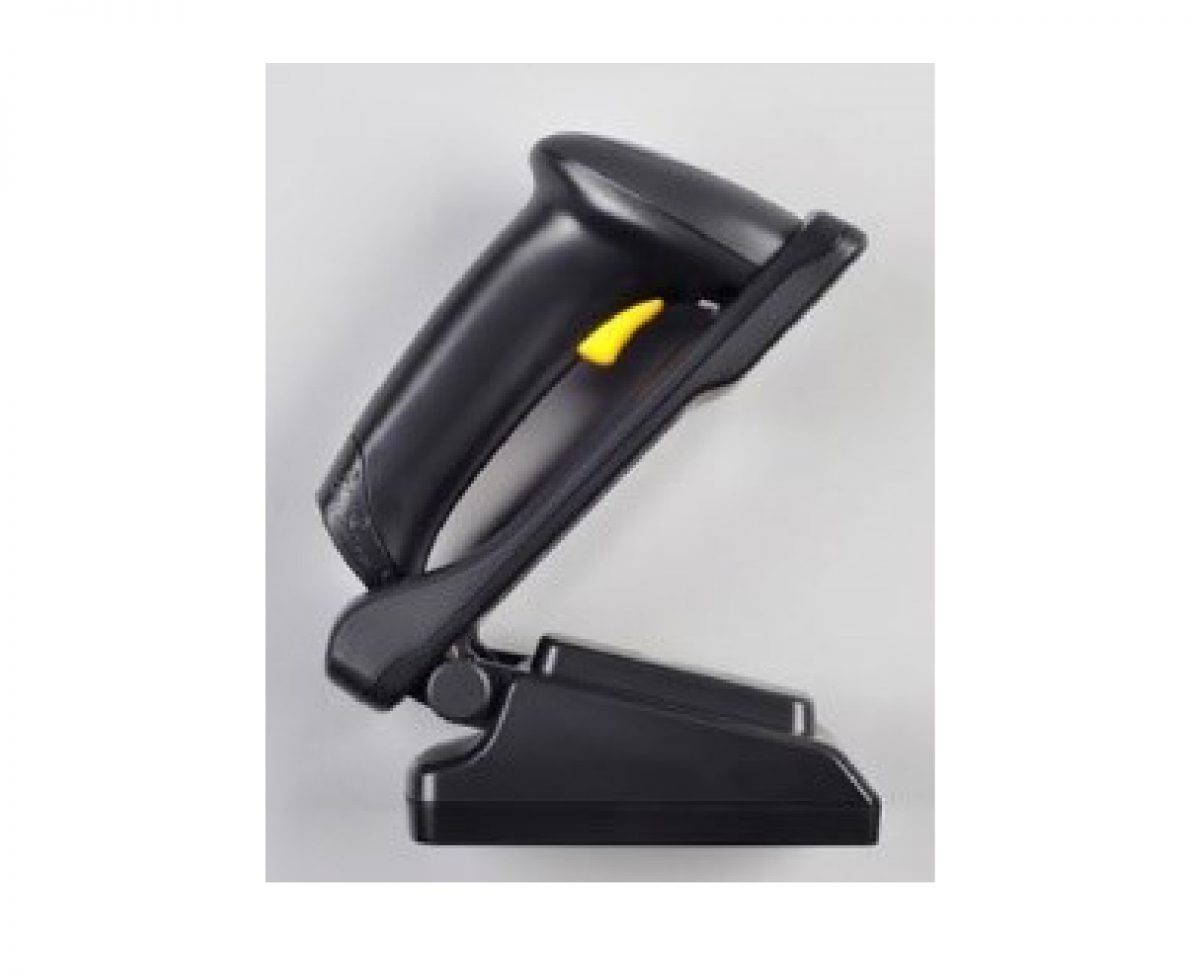 Workstation mounted industrial wireless barcode scanner with integrated charger