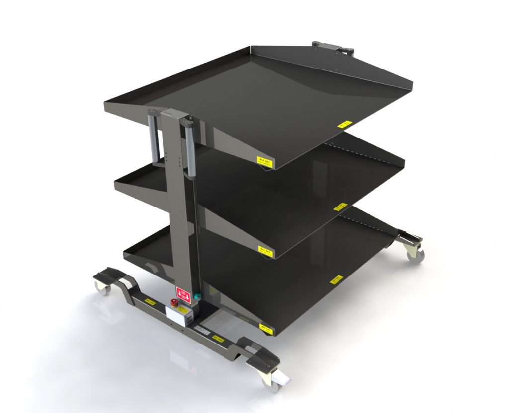 Smart storage with electronic height adjustment prefitted with dynamic pick to light.