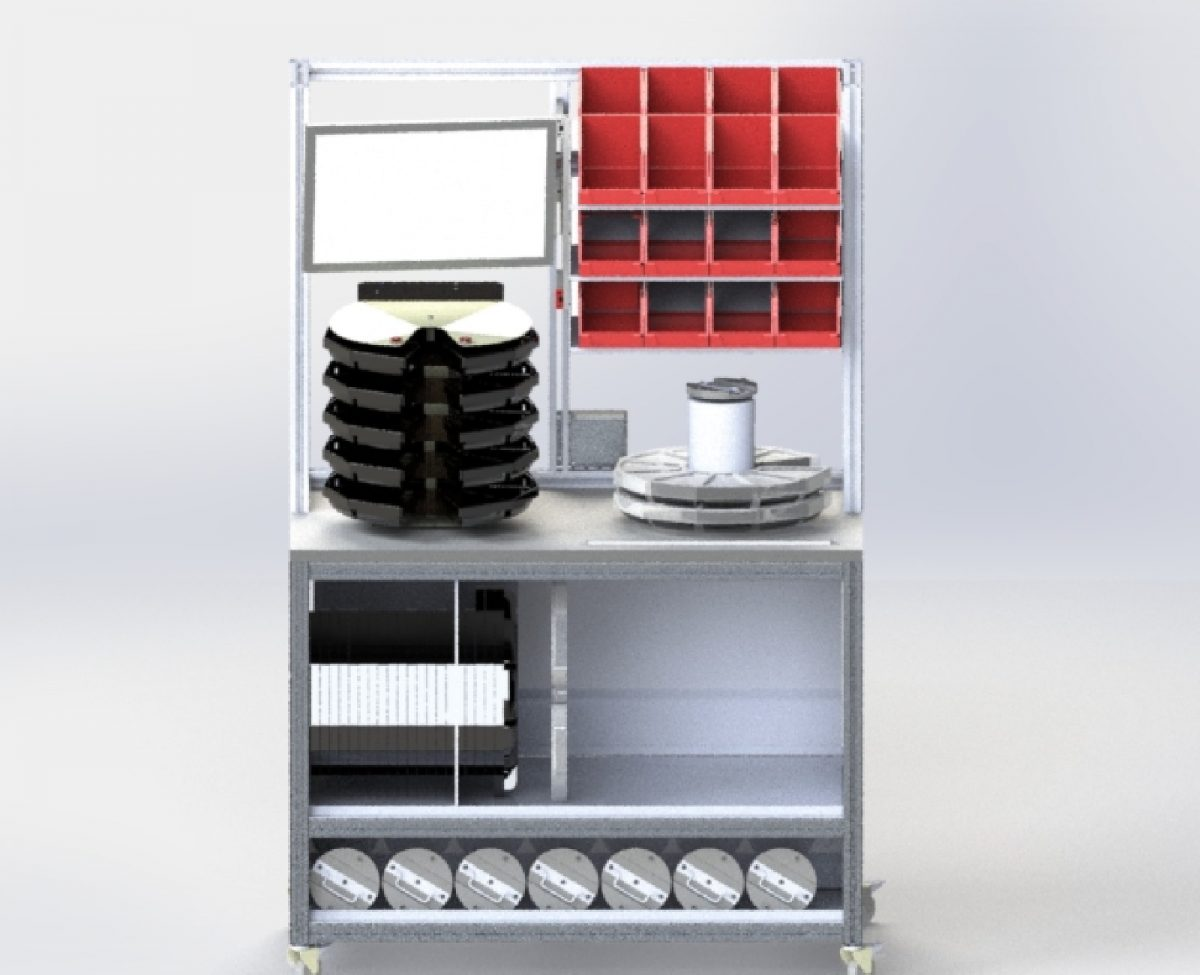 ESD Safe mobile workstation for material prepartion includes storage trays and dispensers bin size indicator