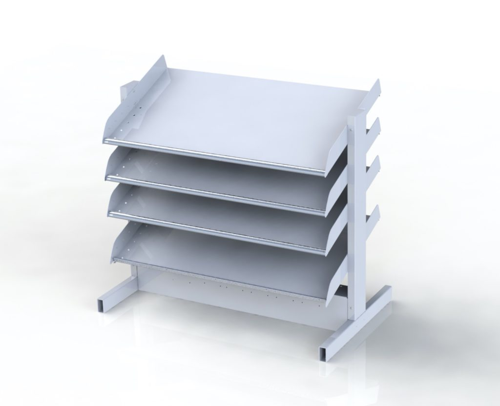Shelving rack for parts storage fitted with pick to light shelving.
