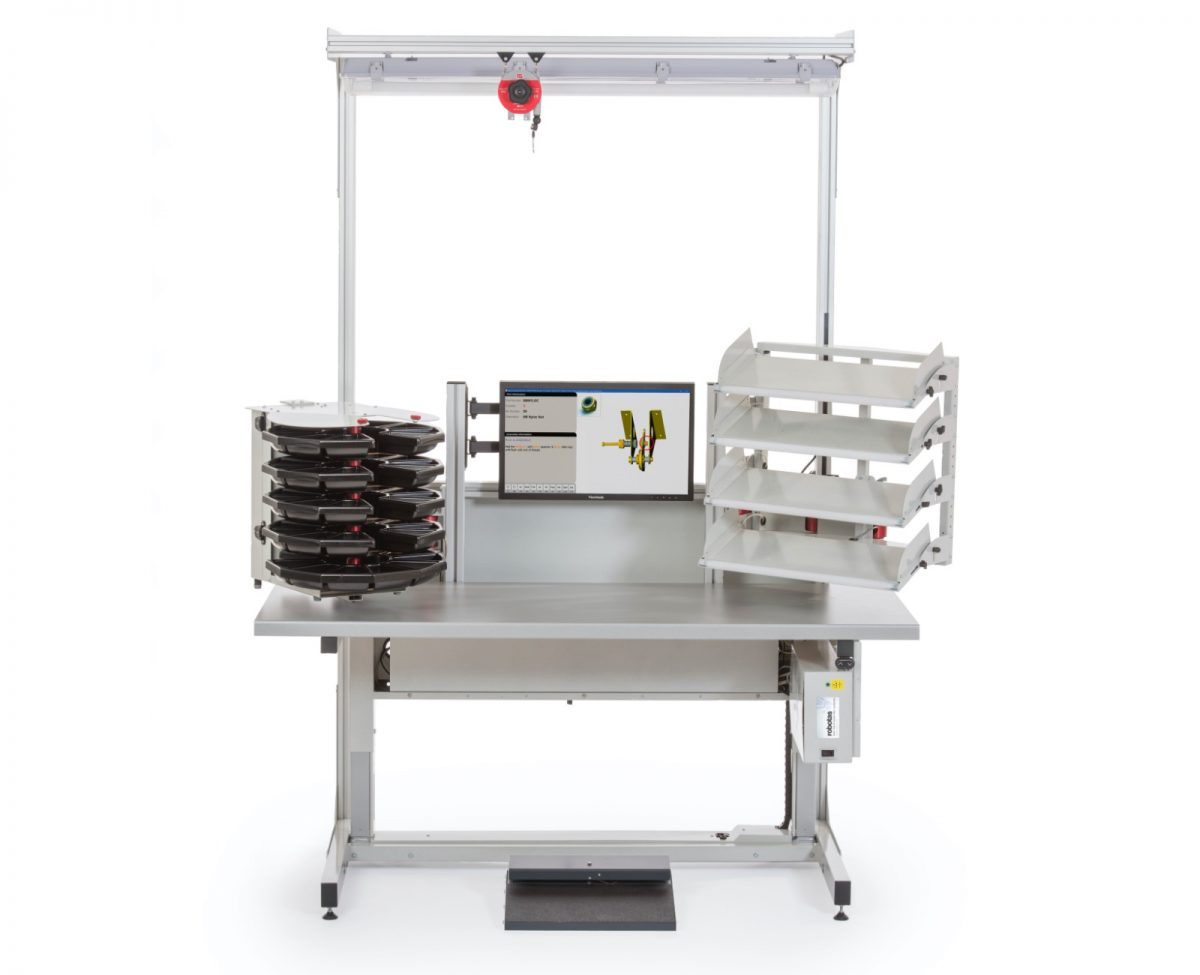 Sigma Standalone ESD workstation height adjustable work area with one carousel and one four tier pick to light array